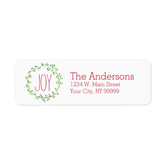 Christmas Wreath Joy Quote Return Address Labels