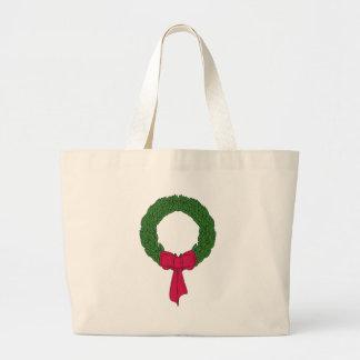 Christmas Wreath Large Tote Bag
