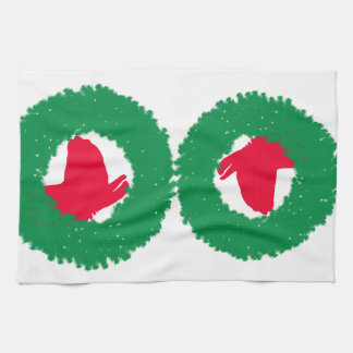 Christmas Wreath & Llama Christmas Card and more Kitchen Towel