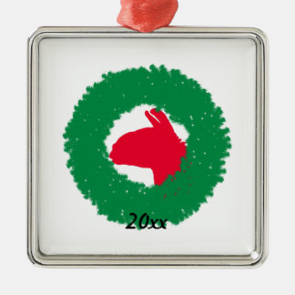Christmas Wreath & Llama Christmas Card and more Silver-Colored Square Ornament