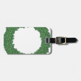Christmas wreath luggage tag