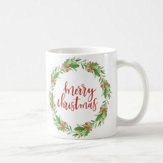 christmas wreath-merry christmas coffee mug
