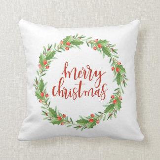 christmas wreath-merry christmas throw pillow