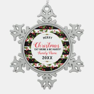 Christmas Wreath Merry Christmas Typography Snowflake Pewter Christmas Ornament