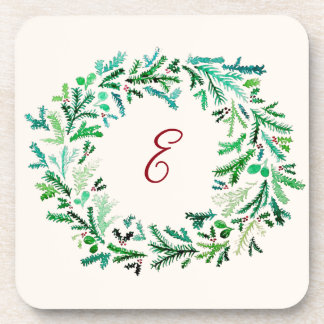 Christmas Wreath Monogram Coaster