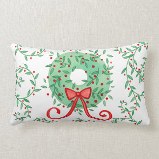 Christmas Wreath Monogram on Back Lumbar Pillow