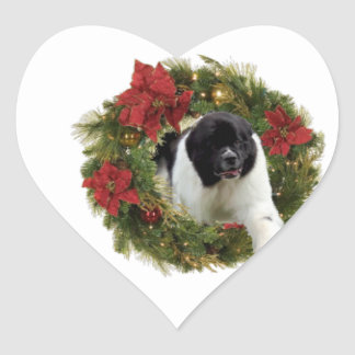 Christmas Wreath Newfoundland Dog Wrapping Paper Heart Sticker
