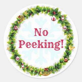Christmas Wreath No Peeking Classic Round Sticker