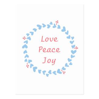Christmas Wreath of Blue Hearts, Peace Love Joy Postcard