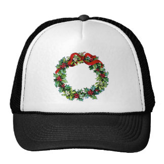 Christmas Wreath of Holly and MIstletoe Trucker Hat