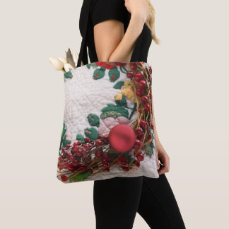 Christmas wreath on a quilt tote bag