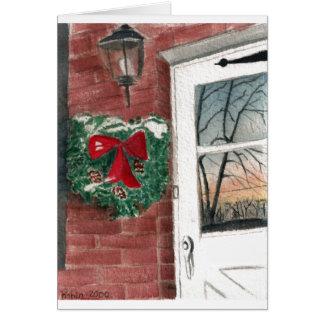Christmas Wreath on a Wintery Door Card
