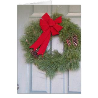 Christmas Wreath On The Door Card