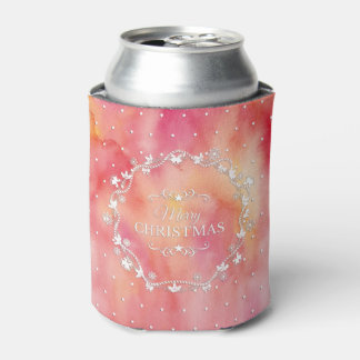 Christmas Wreath on Watercolor   Can Cooler