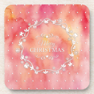 Christmas Wreath on Watercolor   Coaster