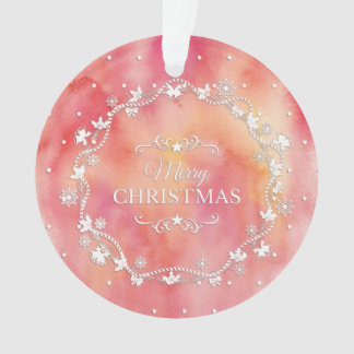 Christmas Wreath on Watercolor | Ornament