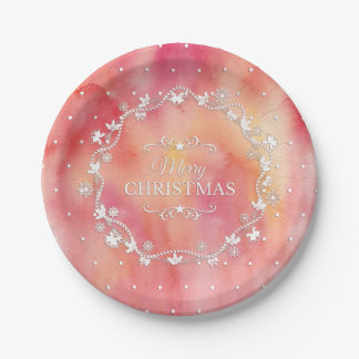 Christmas Wreath on Watercolor   Paper Plates