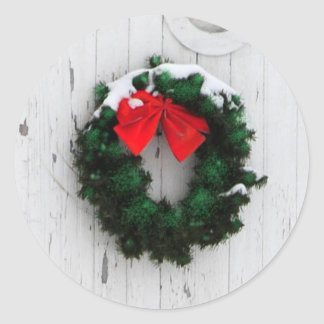 Christmas wreath on white barn stickers