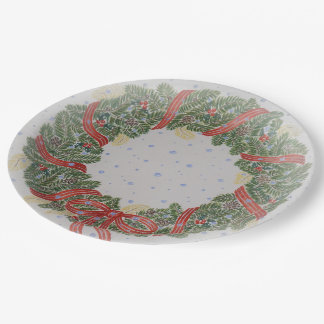 Christmas wreath paper plate