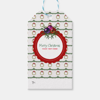Christmas Wreath Pattern With Holly Custom Gift Tags