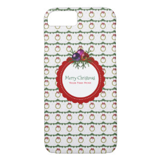Christmas Wreath Pattern With Holly Custom iPhone 8/7 Case