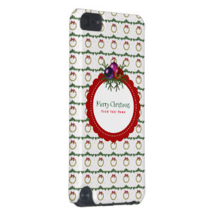 Christmas Wreath Pattern With Holly Custom iPod Touch 5G Cases
