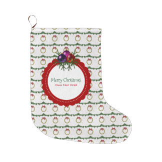 Christmas Wreath Pattern With Holly Custom Large Christmas Stocking