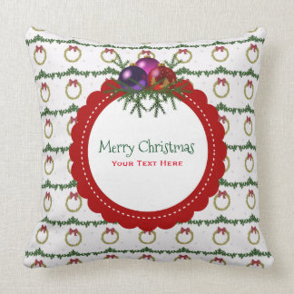 Christmas Wreath Pattern With Holly Custom Throw Pillow