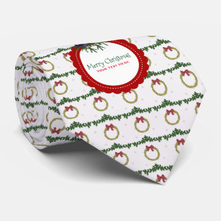 Christmas Wreath Pattern With Holly Custom Tie