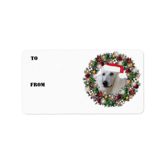 Christmas Wreath Poodle Gift Labels