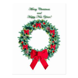 Christmas Wreath Postcard
