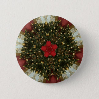 Christmas Wreath Red Green Gold with Red Star 2 Inch Round Button