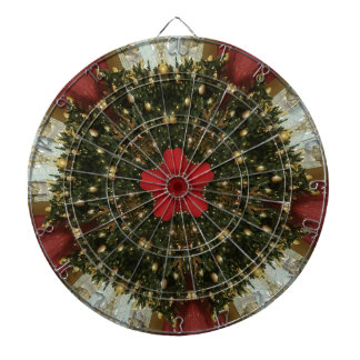 Christmas Wreath Red Green Gold with Red Star Dartboard