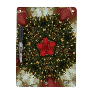 Christmas Wreath Red Green Gold with Red Star Dry Erase Board