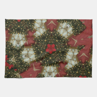 Christmas Wreath Red Green Gold with Red Star Kitchen Towel