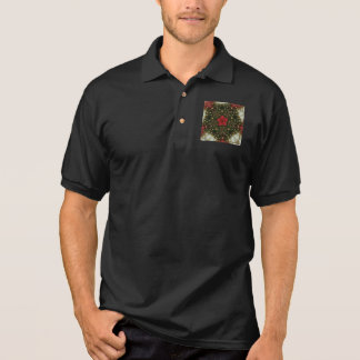 Christmas Wreath Red Green Gold with Red Star Polo Shirt