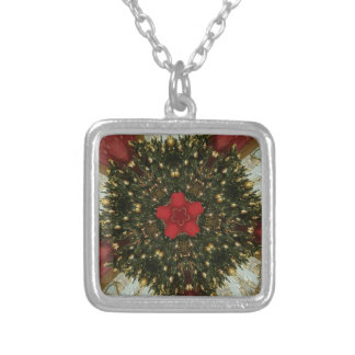Christmas Wreath Red Green Gold with Red Star Silver Plated Necklace
