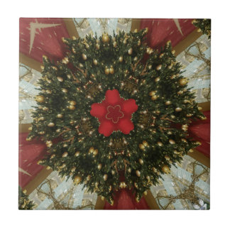 Christmas Wreath Red Green Gold with Red Star Tile