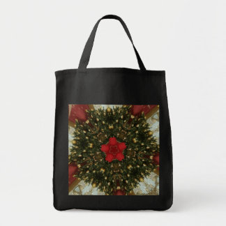 Christmas Wreath Red Green Gold with Red Star Tote Bag