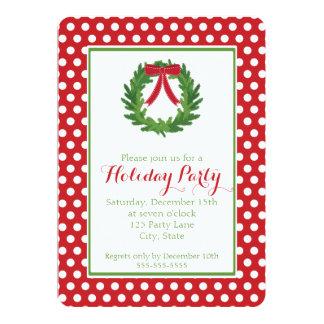 Christmas Wreath, Red Polka Dot Holiday Invitation