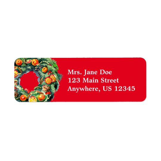 Christmas Wreath Return Address Labels