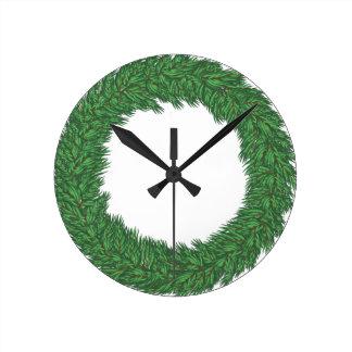 Christmas wreath round clock