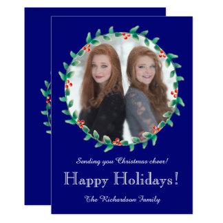 Christmas Wreath Royal Blue Photo Card