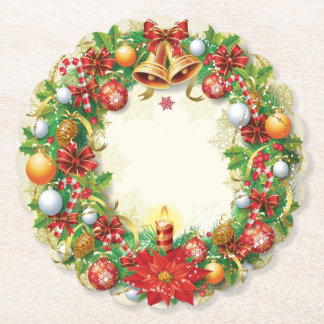 Christmas Wreath Scalloped Round Paper Coaster