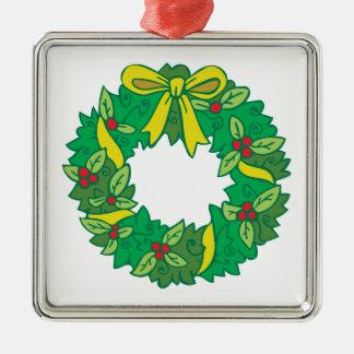 Christmas Wreath Silver-Colored Square Ornament
