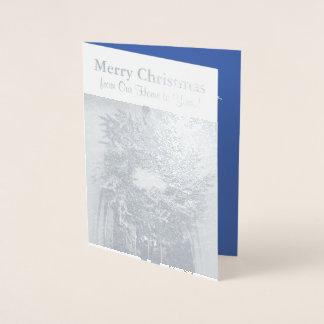 Christmas Wreath Silver Foil Greeting Card
