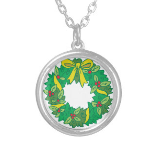 Christmas Wreath Silver Plated Necklace