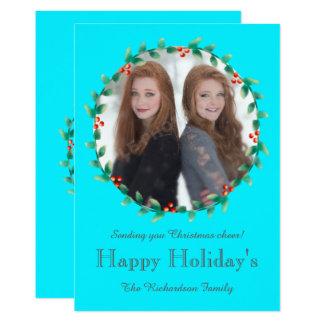Christmas Wreath Teal Photo Card