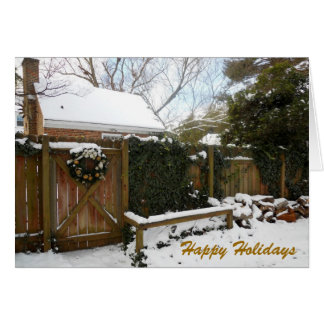 Christmas Wreath Winter Snow Scene Card