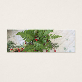 Christmas wreath with ferns bookmark mini business card